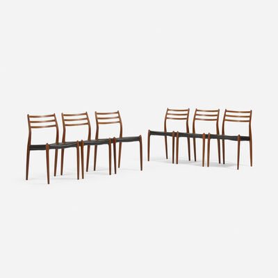 Niels Otto Møller, 'dining chairs, set of six', 1972