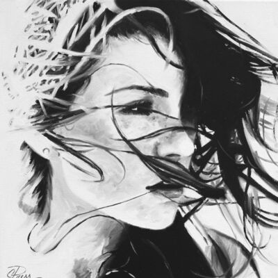 "Cindy Press, ' ""Beautiful Lies"" black and white oil painting of woman with hair blowing in wind', 2020"