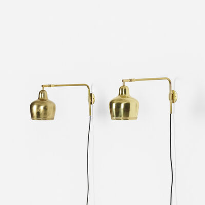 In the manner of Alvar Aalto, 'Wall Lamps, Pair', c. 1960