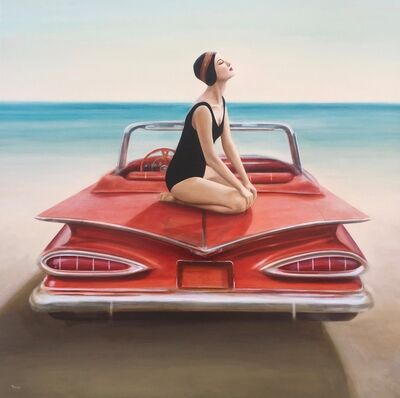 "Elise Remender, '""The Red Beauty"" Woman in Black Bathing Suit Posing on 1959 Chevy on Beach ', 2017"