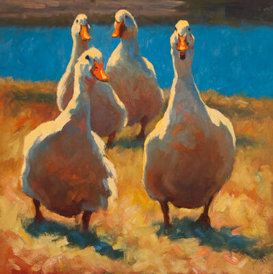 "Cheri Christensen, '""Gossiping"" oil painting of four white ducks waddling in grass with blue lake behind', 2019"