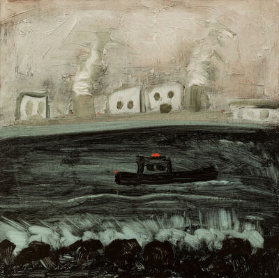 Kathryn Lynch, 'green water hitting rocks with boat and industry', 2017