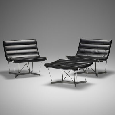 George Nelson & Associates, 'Catenary chairs model 6380, pair and ottoman', 1962
