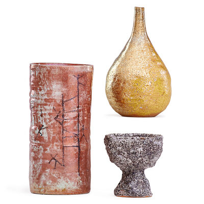 Beatrice Wood, 'Gold Iridescent Teardrop Vase, Oxblood Cylindrical Vase, And Small Volcanic Coupe, Ojai, CA'