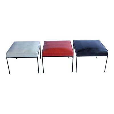 Paul McCobb, '1950'S VINTAGE PAUL MCCOBB WROUGHT IRON BASE BENCHES- SET OF 3', 1950's