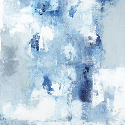 "John Schuyler, '""Respiro #38"" Abstract mixed media painting on linen with blues, grays and white', 2016-2019"