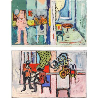 Ahmed Parvez, '(i) Untitled, Woman in Interior; (ii) Untitled, Couple in Interior', 1968