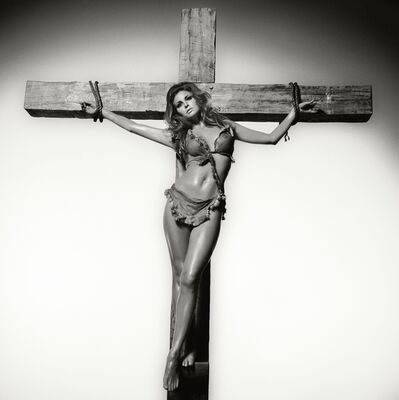Terry O'Neill, 'Raquel Welch on the Cross, Los Angeles 1970 - Co-signed by Raquel Welch.', 1970