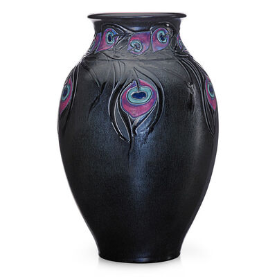 Sara Sax, 'Exceptional, rare, and large French Red vase with peacock feathers (uncrazed), Cincinnati, OH', 1922