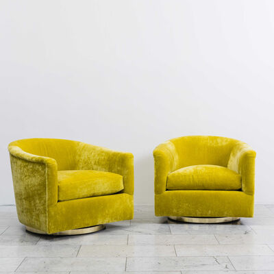 Milo Baughman, 'Pair of Starfruit Swivel Chairs', ca. 1970