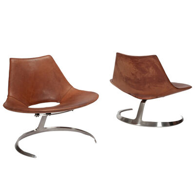 Preben Fabricius and Jørgen Kastholm, 'Pair of 'Scimitar' easy chairs', 1963
