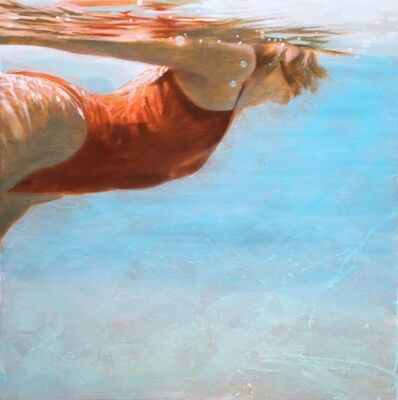 "Carol Bennett, '""See Water"" Oil Painting of a Woman in a Red Swimsuit in Blue Pool ', 2017"