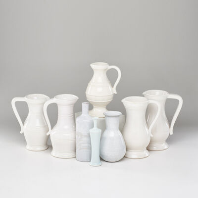 "Vallauris & Quimper, 'Group of eight: set of five Chambost ""Ghost"" pitchers, Vallauris bud vase, Les Argonaites ribbed vase, and Quimper vase', 1950s"
