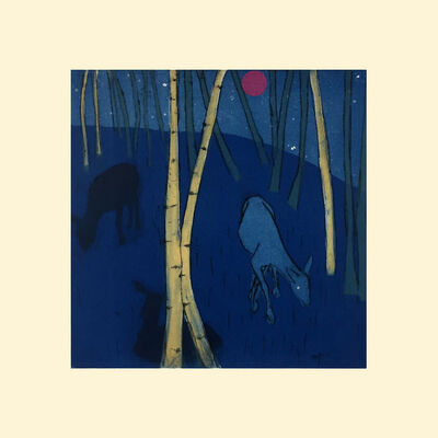 Paula Schuette Kraemer, 'Night Call (woodland scene, deer, aspens)', 2018