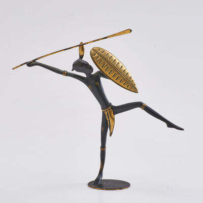 Fabrica Patria, 'Tabletop bronze sculpture of African warrior, in the style of Karl Hagenauer', ca.  1940s