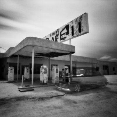 Cody S. Brothers, 'Desert Center, CA- Gas Station, Disappearing Car- Pinhole'