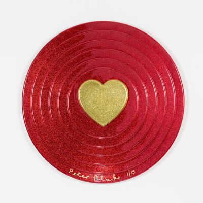 Peter Blake, 'Gold Heart on Red Target (metal flake)', 2017