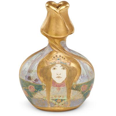 Riessner, Stellmacher & Kessel, 'Amphora Portrait vase with maiden, Allegory of Russia, Turn-Teplitz', ca. 1900