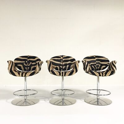 Pierre Paulin, 'Vintage Pierre Paulin Tulip Stools Restored in Zebra Hide, Set of Three', mid 20th Century