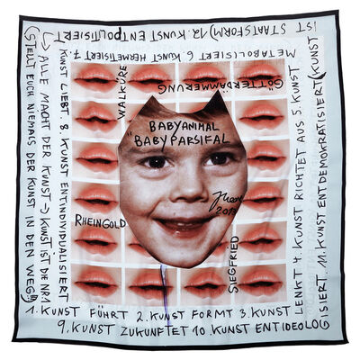 """Jonathan Meese, '# 6 SAALEVOLUTYR DE BABYHUMPTY-DUMPTY'S ERZSTOFFKUSCHELTUCH """"HERMETIK IM BLUT"""" (KUSSMUND DER SPOCKLOGIK)', 2013"""