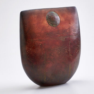 Peter Hayes, 'Raku fired ceramic sculpture with naturally  textured surface and circular copper medallion', 1998