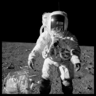 Michael Light, '049 Alan Bean at Sharp Crater With the Handtool Carrier; Photographed by Charles Conrad, Apollo 12, November 14-24, 1969', 1999