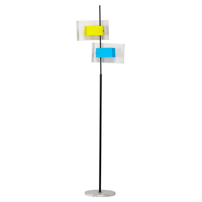 Stilnovo, 'Floor Lamp with Blue and Yellow, Italy', 1950s-60s