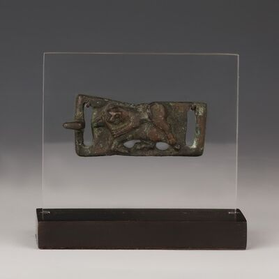 Ancient, 'Fine Bronze Parthian Belt Buckle with Fighting Scene', Circa 2nd Century BC