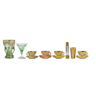 Koloman Moser, 'Twelve Pieces, Two Vases, One Glass, One Goblet, Four Cups And Saucers', Late 19th/Early 20th C