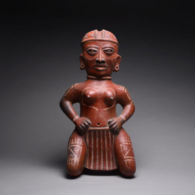 Unknown Pre-Columbian, 'Terracotta Sculpture of a Kneeling Woman', 300 BCE-300