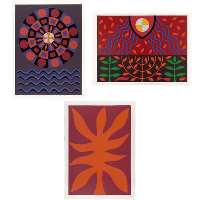John Coburn, 'The First Day: The Spirit Of God Brooded Over The Waters; The Third Day: God Created Earth; Flame Tree'