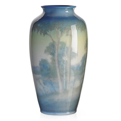 Edward T. Hurley, 'Rookwood, Jewel Porcelain Scenic Vase With Lake And Trees (Uncrazed), Cincinnati, OH', 1943