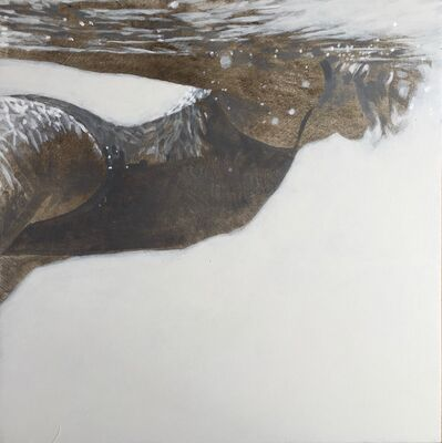 "Carol Bennett, '""Carol Being Cool"" black and white oil painting of a woman swimming underwater', 2019"