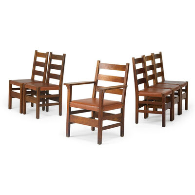 Gustav Stickley, 'Assembled set of six ladder-back chairs, five side-, one arm-, Eastwood, NY', 1910s