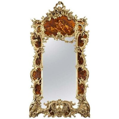 Louis Majorelle, 'Large Giltwood and Vernis Martin Mirror by Louis Majorelle from the Dutch Royal', 1888