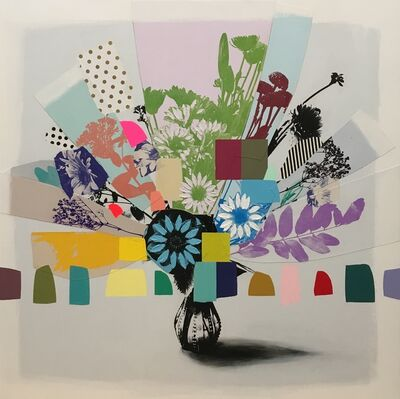 Emily Filler, 'Vintage Bouquet (pink, white & blue flowers)', 2020