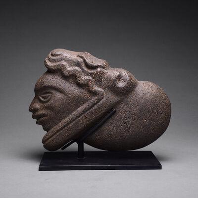 Mayan, 'Mayan Basalt Stone Head', 300 AD to 600 AD