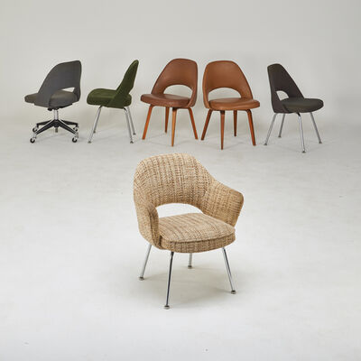 Eero Saarinen, 'Assembled set of six chairs, one arm five side', 1950s/60s