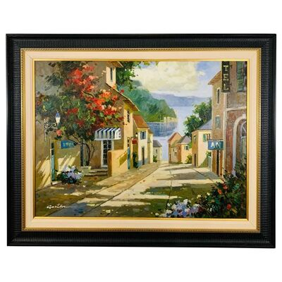 Gaston, 'Landscape Village by the Lake Painting Framed and Signed Gaston', ca. 1990s