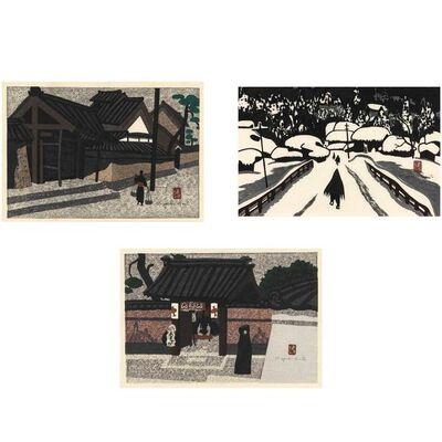 Kiyoshi Saito, 'Aizu Scene; Winter In Aizu; Temple Gate'