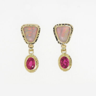 Michael Baksa, 'Red Crystal Opal & Rubellite Tourmaline earrings'