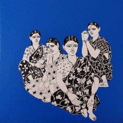 """Laxman Aelay, 'Untitled, Acrylic on Canvas, Blue, Black, White Colours by Contemporary Indian Artist """"In Stock""""', 2017"""