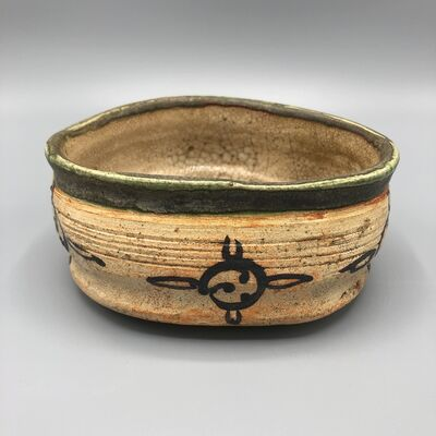 Japan, Edo Period, 'Japanese Narumi - Oribe Tea Bowl Chawan  (kutsugata)  ', 1603-1868