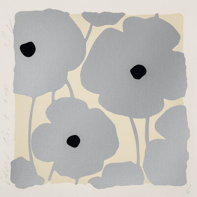 Donald Sultan, 'Three Poppies (Silver)', 2020