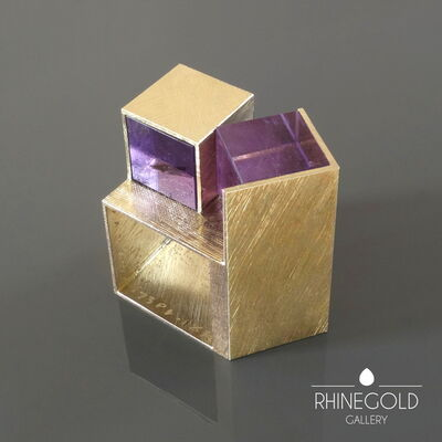 Giampaolo Babetto, 'Giampaolo Babetto, Padua School, Italy: 1990s Architectural Amethyst Cube Gold Ring', 1999