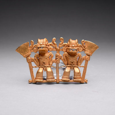 Unknown Pre-Columbian, 'Chiriqui Gold Pendant of Two Deities ', 10-16