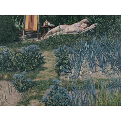 David Inshaw, 'Figure in the garden', 1989