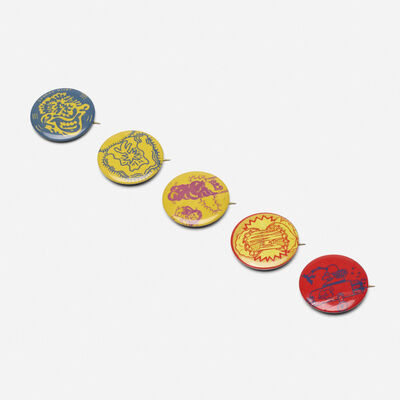Hairy Who, 'collection of five buttons by Jim Falconer, Art Green, Gladys Nilsson, Jim Nutt, Suellen Rocca and Karl Wirsum', 1967