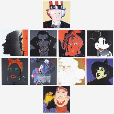 After Andy Warhol, 'Superman, The Witch, Santa Claus, Mickey Mouse, Mammy, Howdy Doody, Dracula, The Shadow, The Star and Uncle Sam (ten works)', 1981
