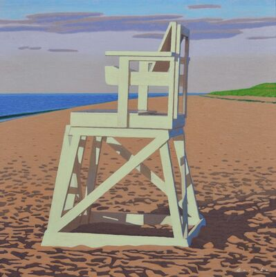 "Rob Brooks, '""Lifegaurd Chair"" Painting of a Beach with Bright Colors in Early Morning Light', 2010-2018"